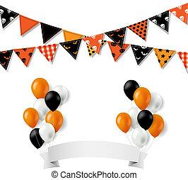trznadel, halloween, chorągiew, bandery, balony
