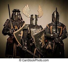 trzy, średniowieczny, rycerze