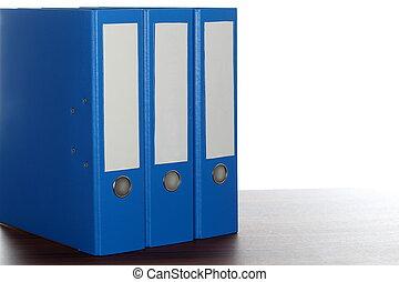trzy, błękitny, wkładać falcowników