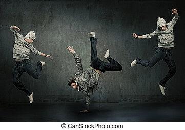 trzy, biodro skaczą, tancerze