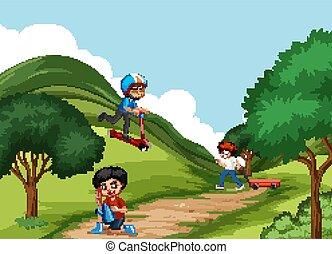 trzy, chłopcy, park, interpretacja, scena