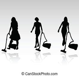 trzy, czyszczenie, kobiety, wektor