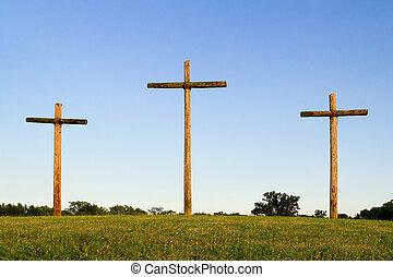 trzy, drewniany, krzyże, na, pagórek