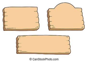 trzy, drewniany, znaki