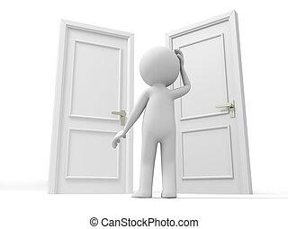 trzy, drzwi