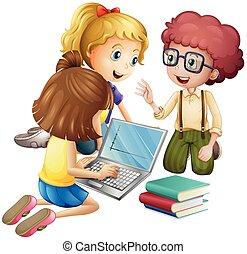 trzy, dzieciaki, pracujący na komputerze