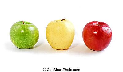 trzy, jabłka