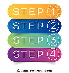 trzy, jeden, cztery, kroki, dwa, postęp