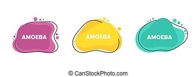 trzy, kolor, komplet, nowoczesny, płaski, ameba, projektować...