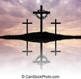 trzy, krzyż