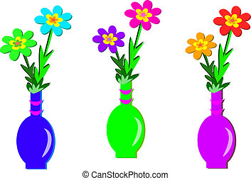 trzy, kwiat, wazony