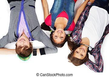 trzy, nastolatki