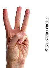 trzy, palce