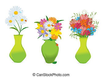 trzy, piękny, kwiaty, w, barwny, wazony, wektor