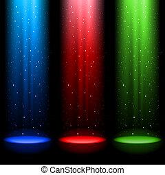trzy, rgb, promienie światła, świetlany