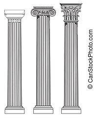trzy, starożytny, kolumny
