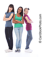 trzy, teenage dziewczyna, przyjaciele, czarnoskóry, biały,...