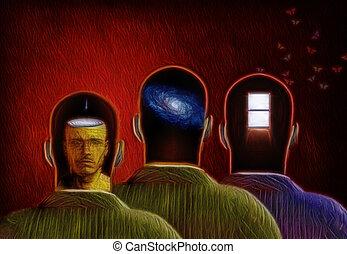 trzy, umysły
