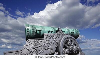 tsar, 5.94, long, kremlin, mètres, moscou, contre, --, canon...
