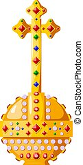 Tsarist attribute of power with precious stones and a cross on a white background. Golden object of the king and emperor, a symbol of power.  Royal orb. Vector illustration