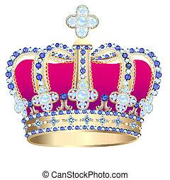 tsarist gold corona with pearl and - illustration tsarist...