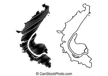 (tsaritsyn), mapa, federación, (russian, volgograd, ciudad,...