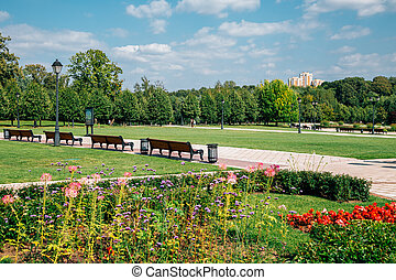 Tsaritsyno Park at summer in Moscow, Russia