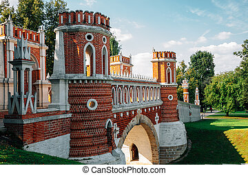 Tsaritsyno Park Figured bridge in Moscow, Russia