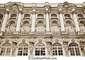 tsarskoe, palace., sepia., catherine, selo.