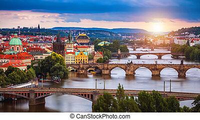 tschechisch, bild, welt, charles, berühmt, besichtigung, republic., brücke, ikonisch, tourism., reise, prag, begriff