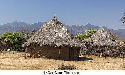 tsemay, ethiopia., weita., tradicional, houses., omo,...