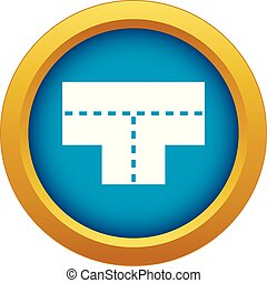 Tshaped crossroad icon blue vector isolated