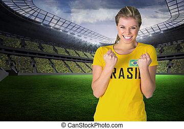 tshi, 興奮させられた, brasil, フットボールファン