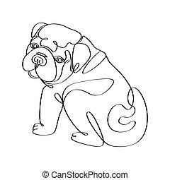 tshirt, bulldog, mano, dibujado, print., contorno, moda