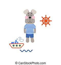 tshirt, cão, marinheiro, desenho, vector., caricatura