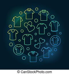Tshirt colorful circular vector outline symbol