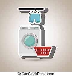 tshirt, cuelgue, detergente, máquina, lavado