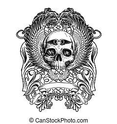 tshirt, desenho, cranio