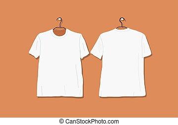 tshirt, diseño, blanco, su, mockup