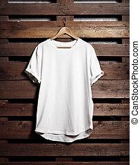 tshirt, hout, achtergrond, hangend, witte , blanc