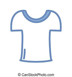 tshirt icon, blue outline style - tshirt icon over white ...