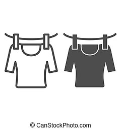 Tshirt on rope line and glyph icon. Drying tshirt vector illustration isolated on white. Laundry outline style design, designed for web and app. Eps 10.