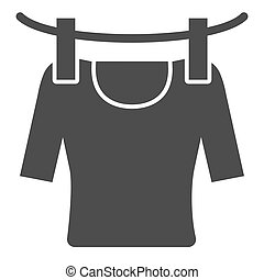 Tshirt on rope solid icon. Drying tshirt vector illustration isolated on white. Laundry glyph style design, designed for web and app. Eps 10.