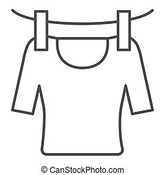 Tshirt on rope thin line icon. Drying tshirt vector illustration isolated on white. Laundry outline style design, designed for web and app. Eps 10.