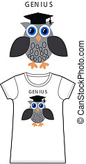 tshirt pattern with a genius owl