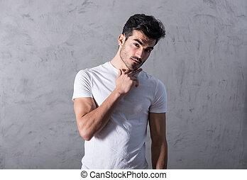 tshirt, pensamiento, blanco, hombre, joven