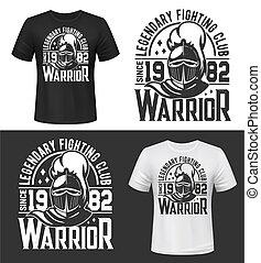 Tshirt print with knight head vector mascot design