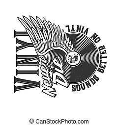 Tshirt print with winged vinyl disk for apparel