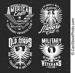 Tshirt prints with eagle, mascot for military club