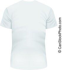 tshirt, realista, espalda, estilo, blanco, mockup